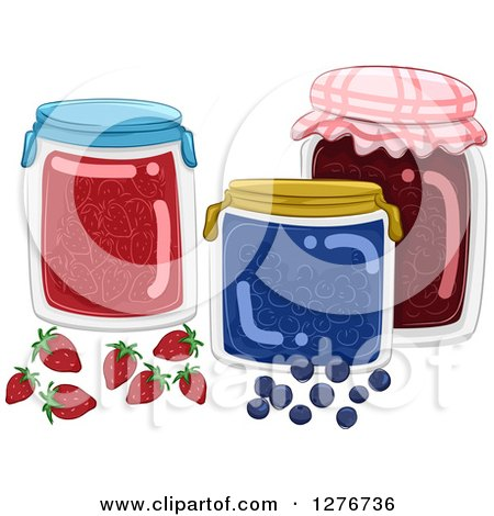 Clipart of Jars of Fruit Jams - Royalty Free Vector Illustration by BNP Design Studio