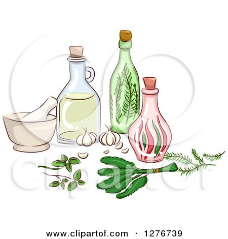 Clipart of Herbal Oils, a Mortar and Pestle and Bottles - Royalty Free Vector Illustration by BNP Design Studio