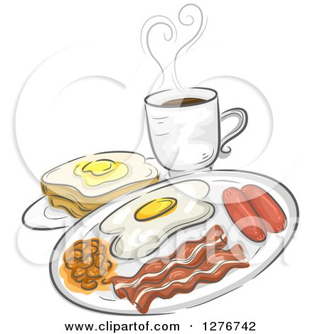 Clipart of a Breakfast Meal of Coffee, Toast, Eggs, Bacon, Sausage and Pork and Beans - Royalty Free Vector Illustration by BNP Design Studio