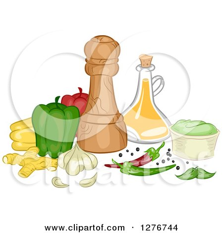 Clipart of Vegetables and Herbs with Condiments and Bottles - Royalty Free Vector Illustration by BNP Design Studio