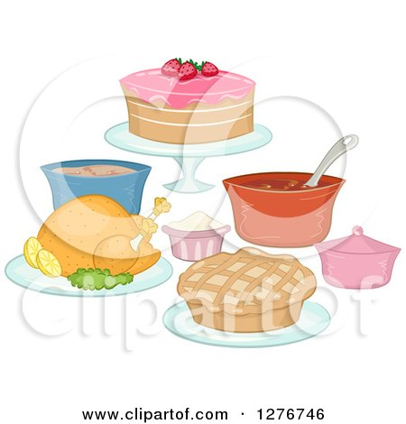 Cartoon Of A Roasted Thanksgiving Turkey Royalty Free