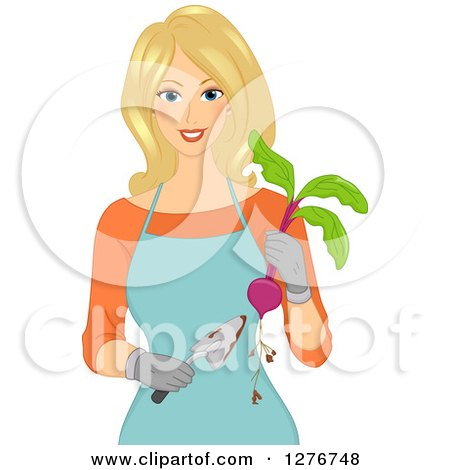 Clipart of a Happy Blond White Woman Holding Beets and a Gardening Trowel - Royalty Free Vector Illustration by BNP Design Studio