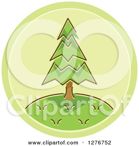 Clipart of a Green Tree Icon - Royalty Free Vector Illustration by BNP Design Studio