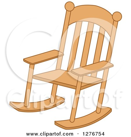 Clipart of a Wood Rocking Chair - Royalty Free Vector Illustration by BNP Design Studio