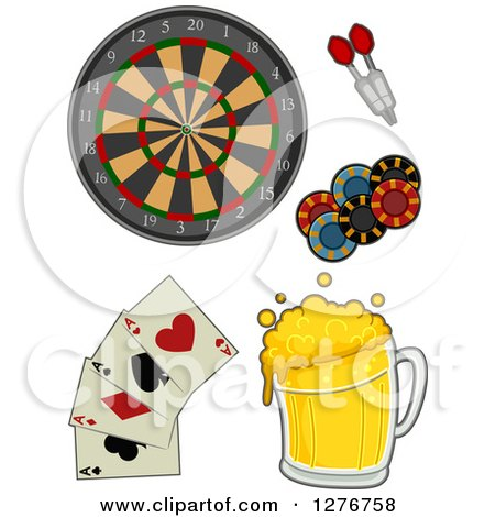 Clipart of a Dart Board, Darts, Poker Chips, Playing Cards and Beer - Royalty Free Vector Illustration by BNP Design Studio