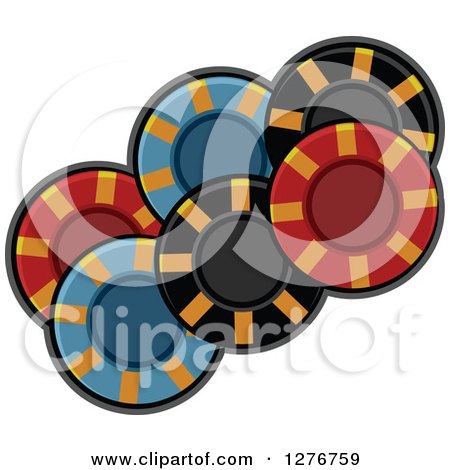 Clipart of Colorful Poker Chips - Royalty Free Vector Illustration by BNP Design Studio