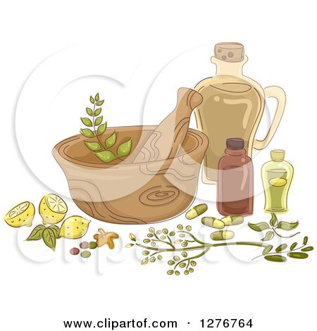 Clipart of a Mortar and Pestle with Lemons and Herbal Medicine - Royalty Free Vector Illustration by BNP Design Studio