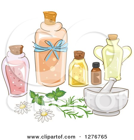 Clipart of a Mortar and Pestle with Essential Oils - Royalty Free Vector Illustration by BNP Design Studio