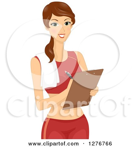 Clipart of a Brunette White Female Personal Fitness Trainer Writing Notes on a Clipboard - Royalty Free Vector Illustration by BNP Design Studio
