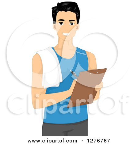 Clipart of a Handsome Young Male Personal Trainer Writing on a Clipboard - Royalty Free Vector Illustration by BNP Design Studio