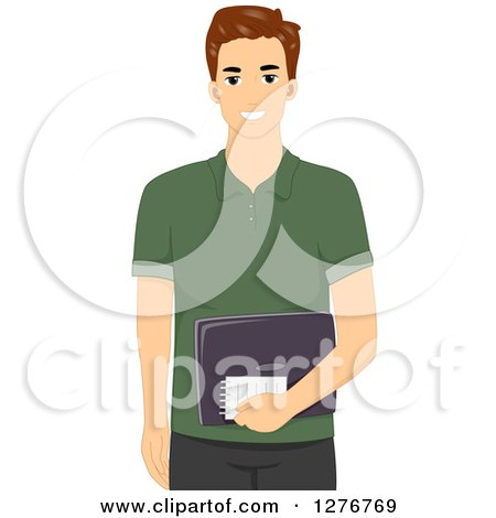 Clipart of a Happy Brunette White Male Blogger Holding a Notepad and Laptop - Royalty Free Vector Illustration by BNP Design Studio