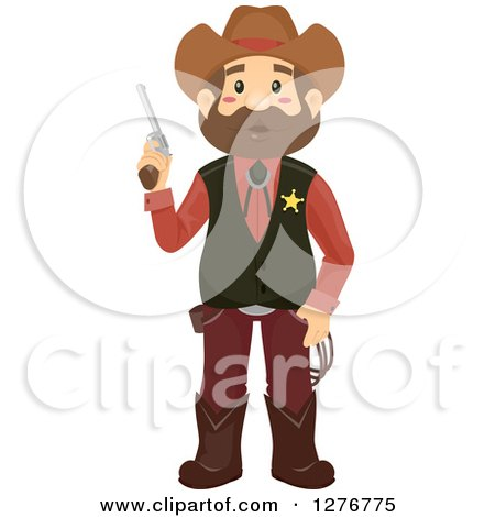 Clipart of a Brunette White Cowboy Sheriff Man Holding a Pistol - Royalty Free Vector Illustration by BNP Design Studio