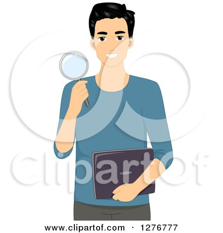 Clipart of a Young Black Haired Man Holding a Magnifying Glass and Laptop Computer - Royalty Free Vector Illustration by BNP Design Studio