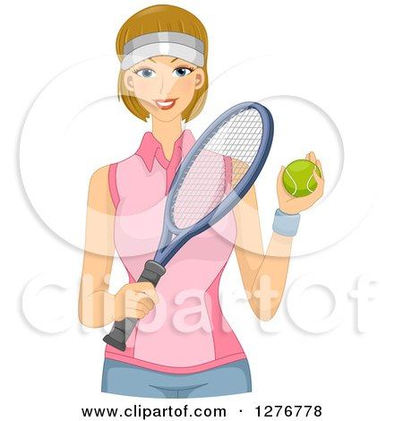 Clipart of a Happy Dirty Blond Tennis Player Holding a Ball and Racket - Royalty Free Vector Illustration by BNP Design Studio