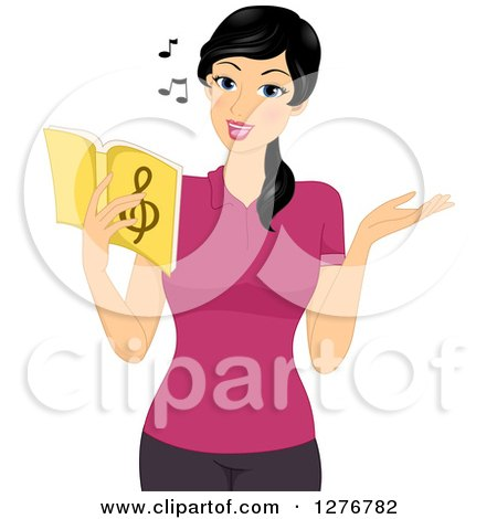 Clipart of a Pretty Asian Music Teacher Singing from a Book - Royalty Free Vector Illustration by BNP Design Studio