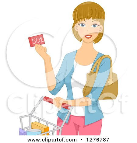 Clipart of a Happy Dirty Blond White Woman Holding a Discount Coupon and Pushing a Shopping Cart - Royalty Free Vector Illustration by BNP Design Studio