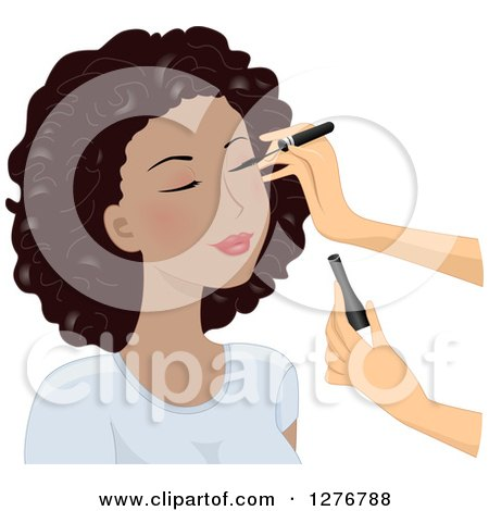 Clipart of a White Woman's Hands Applying Eyeliner on a Black Model's Face - Royalty Free Vector Illustration by BNP Design Studio