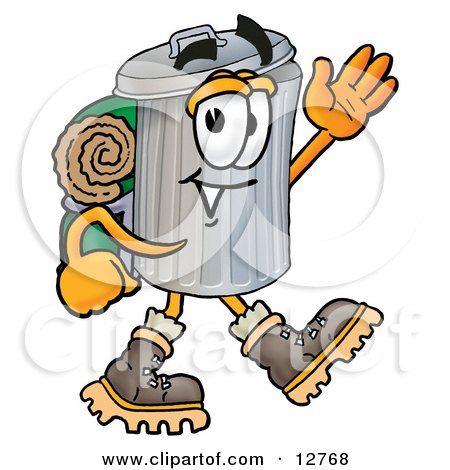 Clipart Picture of a Garbage Can Mascot Cartoon Character Hiking and Carrying a Backpack by Toons4Biz