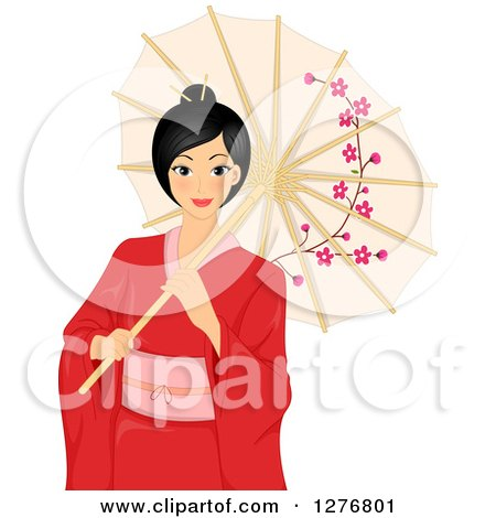 Clipart of a Beautiful Asian Woman in a Red Kimono, Holding a Parasol - Royalty Free Vector Illustration by BNP Design Studio