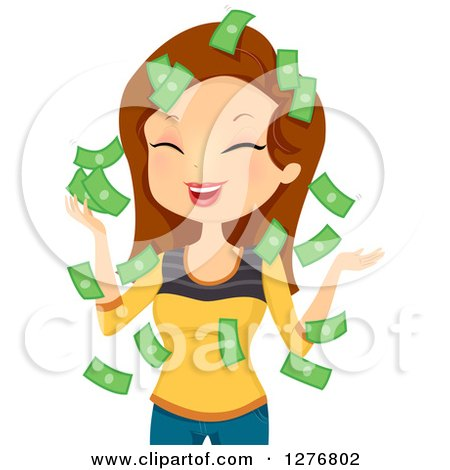 Clipart of a Laughing Brunette White Woman with Falling Money - Royalty Free Vector Illustration by BNP Design Studio