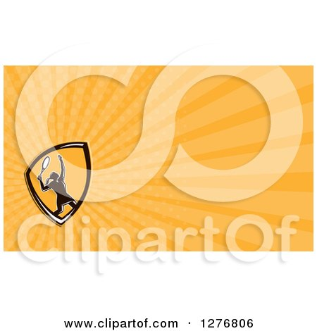 Clipart of a Retro Female Tennis Player and Orange Rays Business Card Design - Royalty Free Illustration by patrimonio