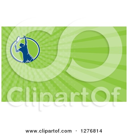 Clipart of a Retro Male Tennis Player and Green Rays Business Card Design - Royalty Free Illustration by patrimonio
