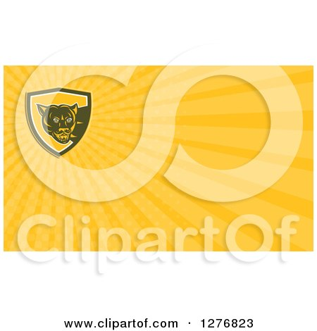 Clipart of a Retro Cougar and Yellow Rays Business Card Design - Royalty Free Illustration by patrimonio