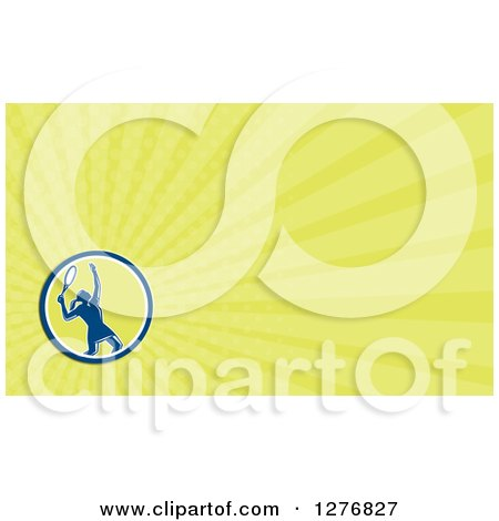 Clipart of a Retro Female Tennis Player and Yellow Rays Business Card Design - Royalty Free Illustration by patrimonio