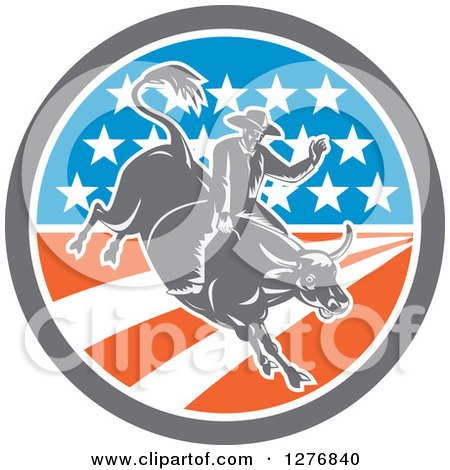 Clipart of a Retro Woodcut Male Rodeo Cowboy on a Bucking Bull in an American Flag Circle - Royalty Free Vector Illustration by patrimonio