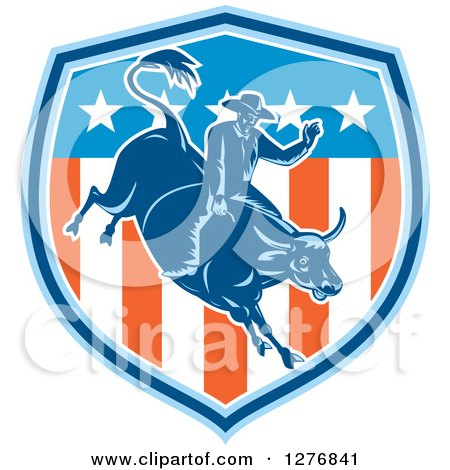 Clipart of a Retro Woodcut Male Rodeo Cowboy on a Bucking Bull in an American Flag Shield - Royalty Free Vector Illustration by patrimonio