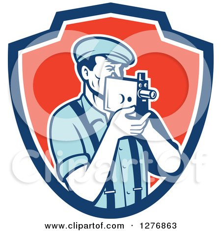 Clipart of a Retro Male Camera Man Filming in a Blue White and Red Shield - Royalty Free Vector Illustration by patrimonio