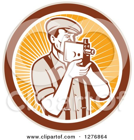 Clipart of a Retro Male Camera Man Filming in a Tan Brown White and Orange Ray Circle - Royalty Free Vector Illustration by patrimonio