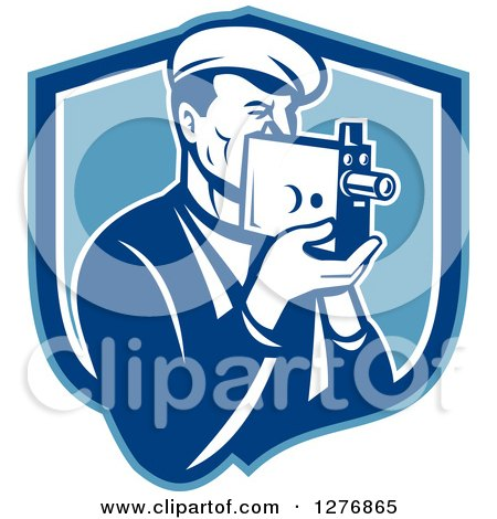 Clipart of a Retro Male Camera Man Filming in a Blue and White Shield - Royalty Free Vector Illustration by patrimonio