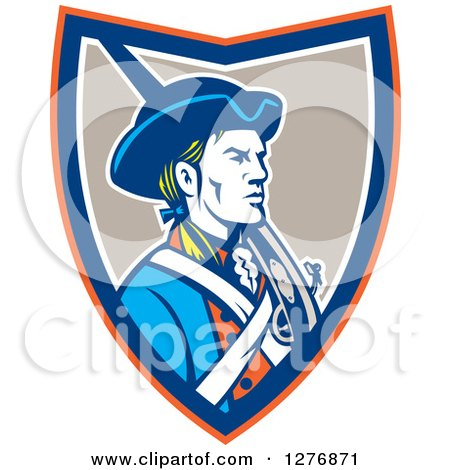 Clipart of a Retro American Patriot Soldier with a Musket in an Orange Blue White and Taupe Shield - Royalty Free Vector Illustration by patrimonio