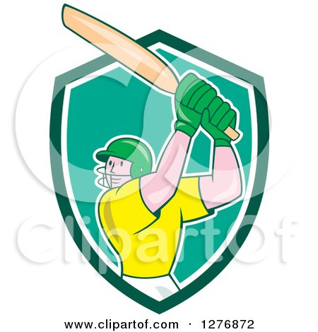 Clipart of a Cartoon Cricket Batsman Player in a Green and White Shield - Royalty Free Vector Illustration by patrimonio