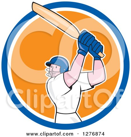 Clipart of a Cartoon Cricket Batsman Player in a Blue White and Orange Circle - Royalty Free Vector Illustration by patrimonio
