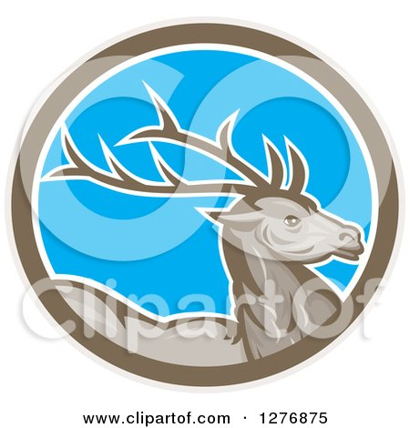 Clipart of a Retro Buck Deer in a Taupe White and Blue Oval - Royalty Free Vector Illustration by patrimonio