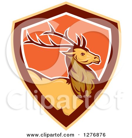 Clipart of a Retro Buck Deer in a Brown Orange and White Shield - Royalty Free Vector Illustration by patrimonio