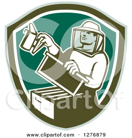 Clipart of a Retro Male Beekeeper Smoking out a Hive Box in a Green and White Shield - Royalty Free Vector Illustration by patrimonio
