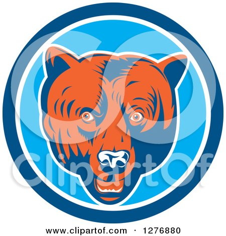 Clipart of a Retro Woodcut Grizzly Bear Head in a Blue and White Circle - Royalty Free Vector Illustration by patrimonio