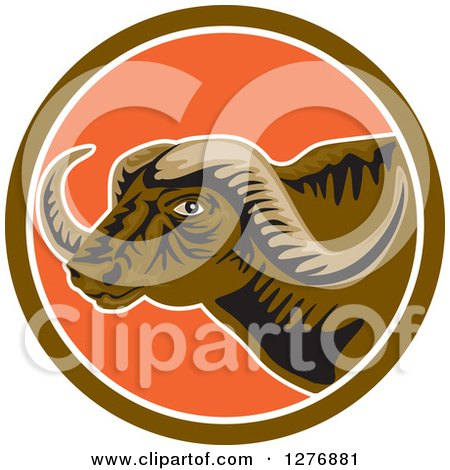 Clipart of a Horned African Buffalo Head in a Brown White and Orange Circle - Royalty Free Vector Illustration by patrimonio