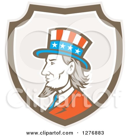 Clipart of a Retro Profiled American Uncle Sam in a Taupe White and Brown Shield - Royalty Free Vector Illustration by patrimonio