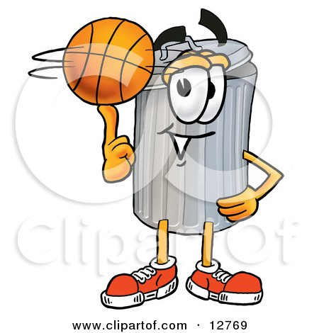 Clipart Picture of a Garbage Can Mascot Cartoon Character Spinning a Basketball on His Finger by Toons4Biz