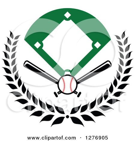 Clipart of a Baseball Diamond Field with a Ball and Crossed Bats in a Wreath - Royalty Free Vector Illustration by Vector Tradition SM