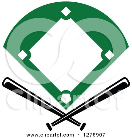 Clipart of a Baseball Diamond Field with Crossed Bats - Royalty Free Vector Illustration by Vector Tradition SM