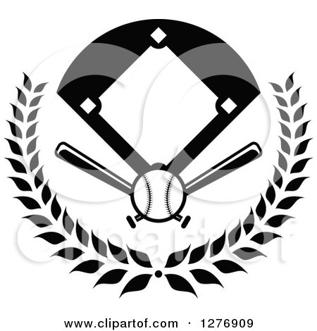 Clipart of a Black and White Baseball Diamond Field with a Ball and Crossed Bats in a Wreath - Royalty Free Vector Illustration by Vector Tradition SM