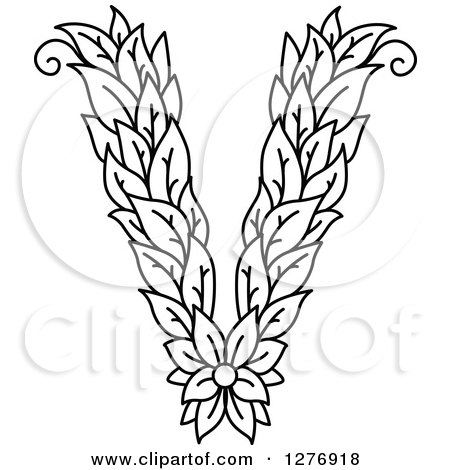 Clipart of a black and white floral capital letter v with a flower clipart of a black and white floral capital letter v with a flower royalty free vector illustration by vector tradition sm altavistaventures Images