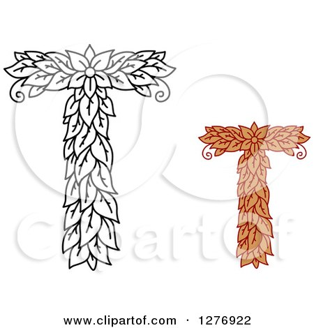 Clipart Of Black And White Colored Floral Capital Letter T Designs