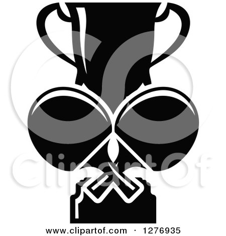 Clipart of a Black and White Trophy Cup and Ping Pong Paddles - Royalty Free Vector Illustration by Vector Tradition SM