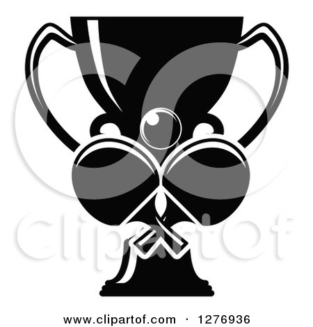 Clipart of a Black and White Trophy Cup and a Ball over Ping Pong Paddles - Royalty Free Vector Illustration by Vector Tradition SM